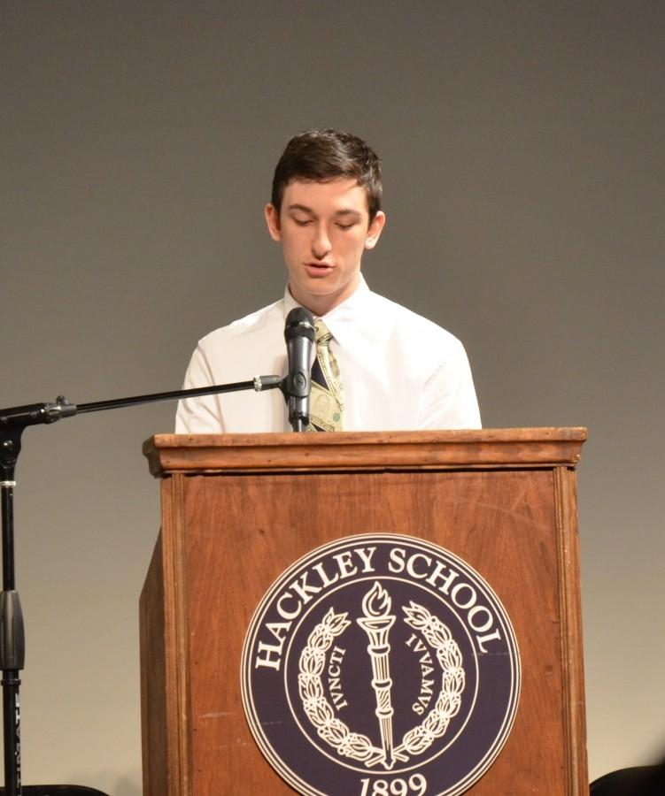 Junior Eli Pinkus delivers his speech for the position of treasurer.