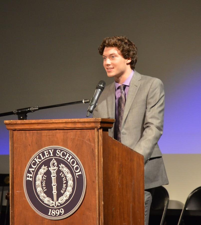 Junior Brian Schmitt delivers his speech for the position of treasurer.