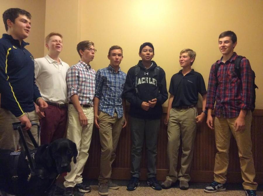 Phillip Bonanno, Ben Moskow, Robert Patterson, Jack Kneisley, Jerome Francis, Connor Larson and Dillon Schaevitz practice for their first performance.