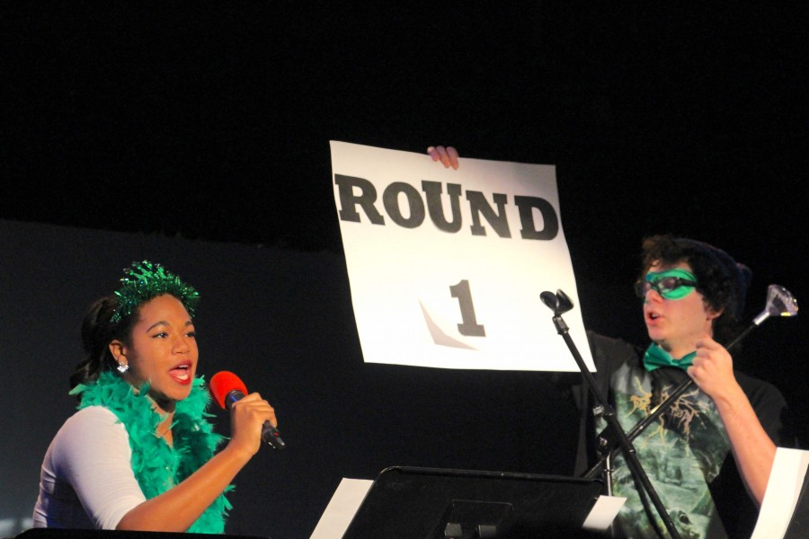 Seniors Alexis Arnold and Levi DeMatteo were the hosts for the first Coffeehouse of 2015.