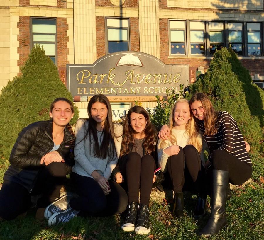 From left to right: Lexi Schechter, Grace Rubin, Jessica Feldman, Isla Parton, and Cosima Boettner outside of the Park Avenue School in Port Chester.