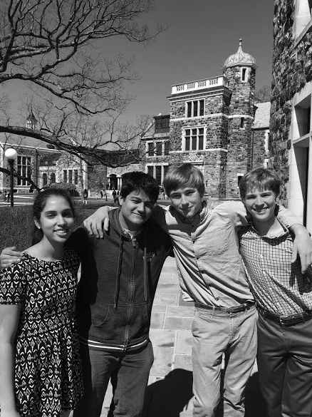 Independent Research program students (from left to right) Samhitha Josyula, Vinay Bijoor, Sean Malcolm, and Connor Larsen