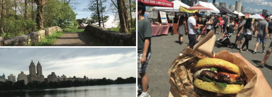 Clockwise from top left: Bridge at Rockefeller State Park, Smorgasburg's famous Ramen Burger, and Manhattan Skyline.