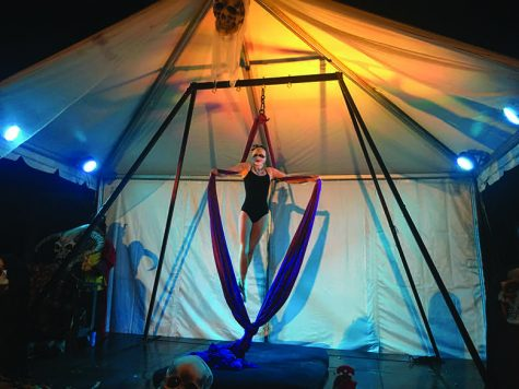 A trapeze artist performs at Horseman's Hollow.