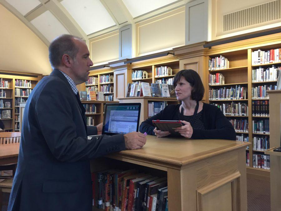 Librarians Jackson Blossom and Brianna Judkins are always eager to help students and improve the library.
