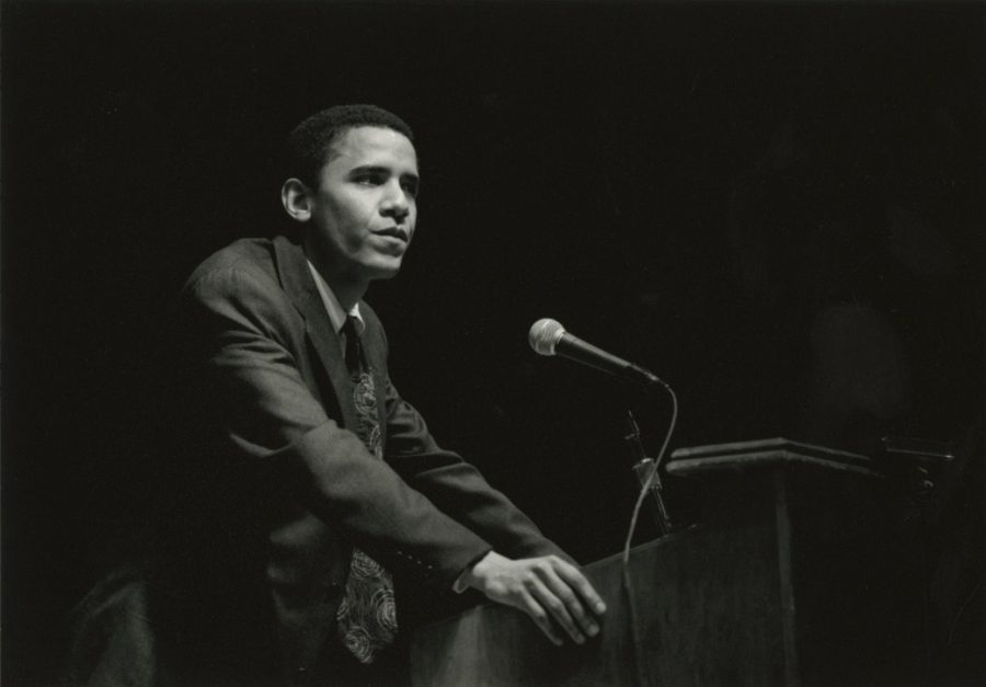 Then-third-year law student Barack Obama was the speaker for Hackley's 1991 Forbes Lecture.