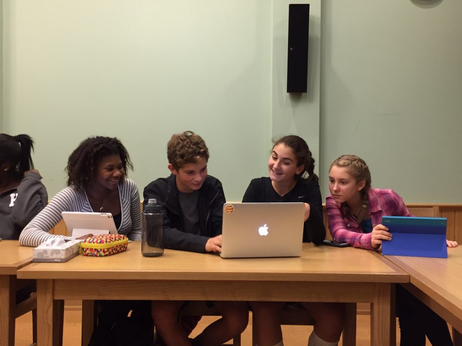 From left to right: Freshmen Taylor Robin, Ben Marra, Sofia Graziano and Alex Evangelidis attend their first Community Council meeting.