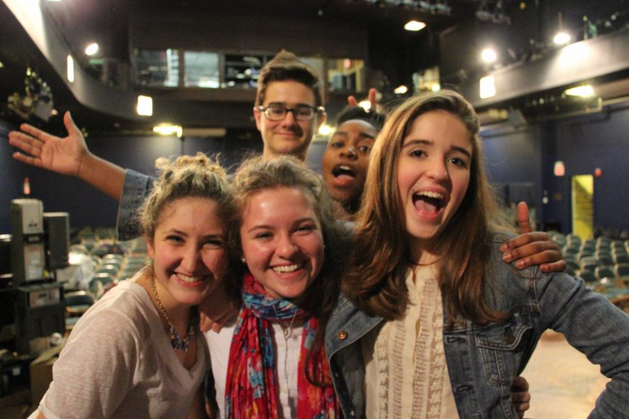 Round Square exchange student Ellen Coote is surrounded by Hackley's acting community.