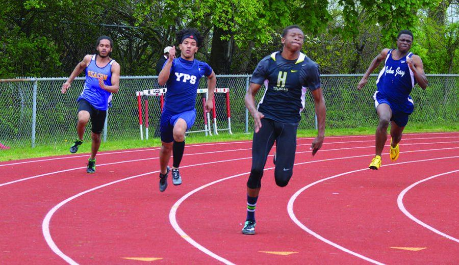 Onye runs the 200 meter dash at the Somers Invitational.