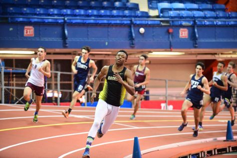 Junior Onye Ohia-Enyia won both the 55 meter and 300 meter dashes.