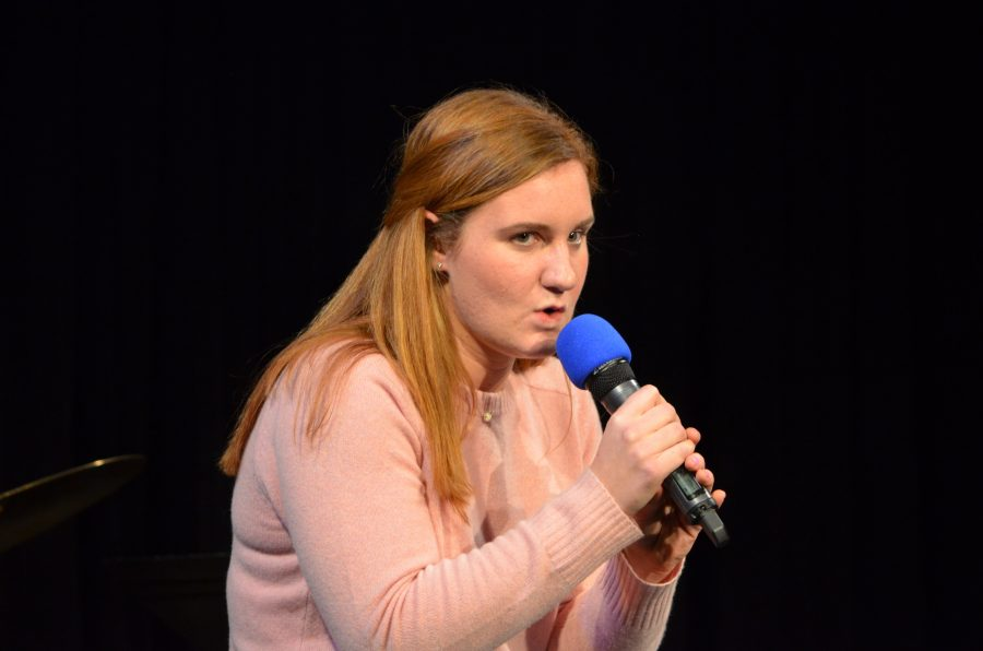 Hope performs a comedy routine in the Winter Coffeehouse.