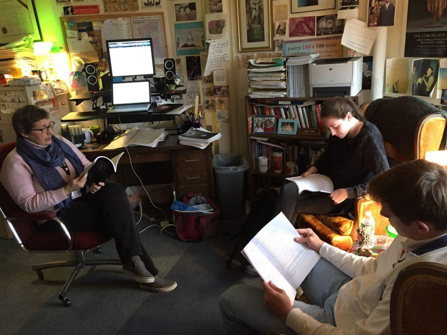 Seniors Amanda Stern and Malcom Roesser chose to continue their Greek studies in an independent study with Dr. Adrianne Pierce, Classics Department Chair