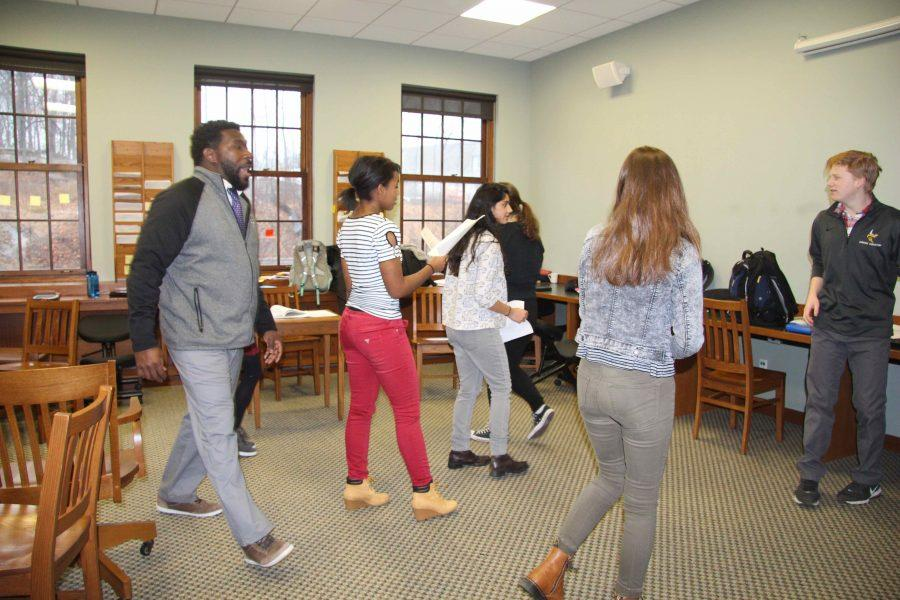 Actors practice their monologues in class, in preparation for the ESU Shakespeare Monologue Competition.