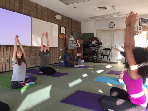 Upper School students participate in yoga as a Physical Education class. The new program has expanded yoga beyond its traditional offerings.
