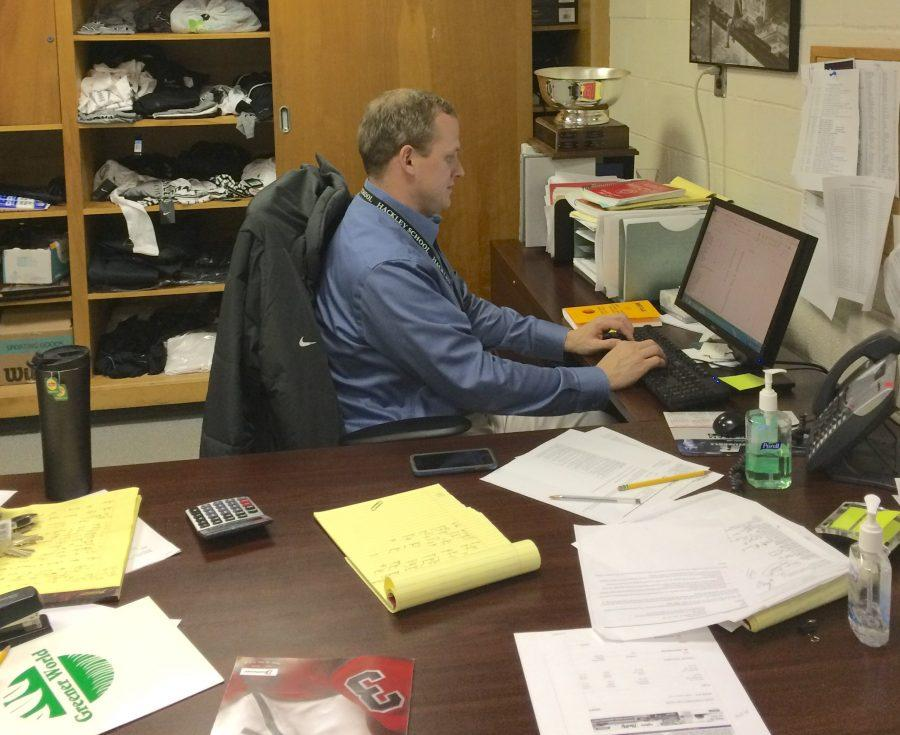 Director of Athletics Jason Edwards works hard on the field and in his office.