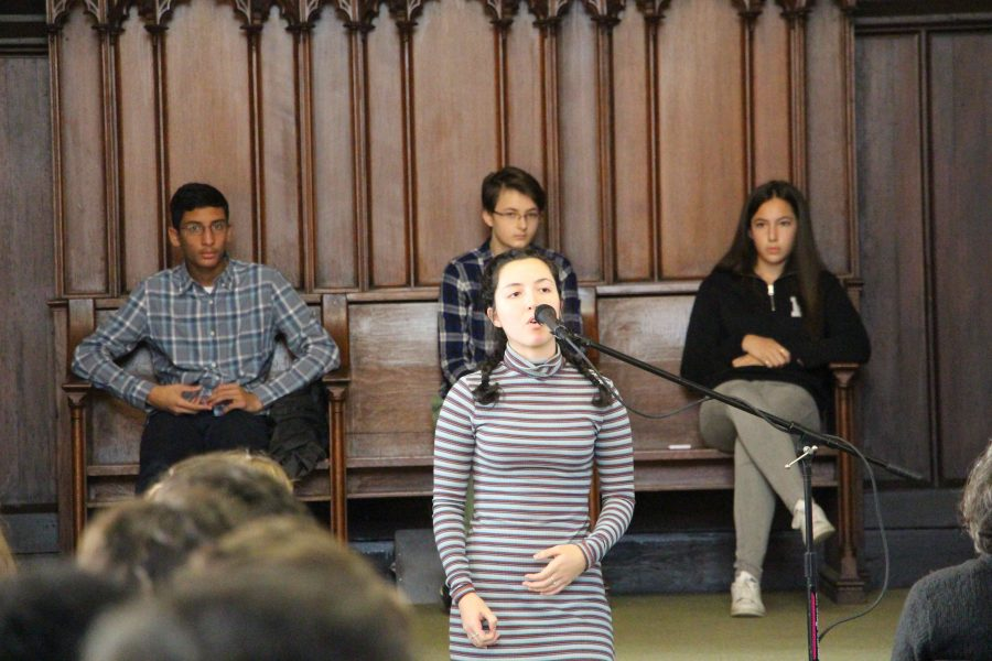 Delia performed two poems in the school-wide Poetry Out Loud competition.