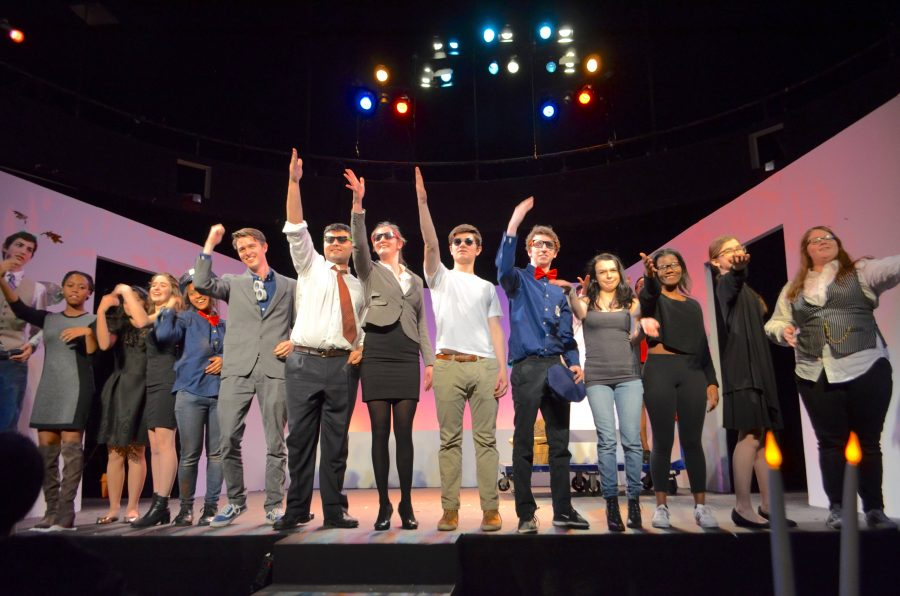 The cast and crew of All In The Timing bow after a final performance.