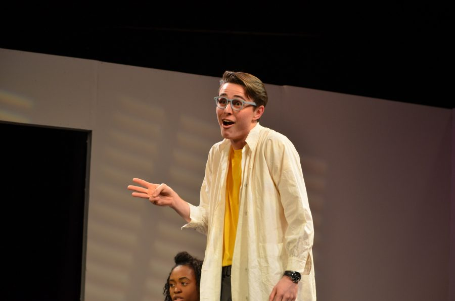 """Fin McCombe was cast as Don in one of """"All in the Timing'""""s comedic acts."""