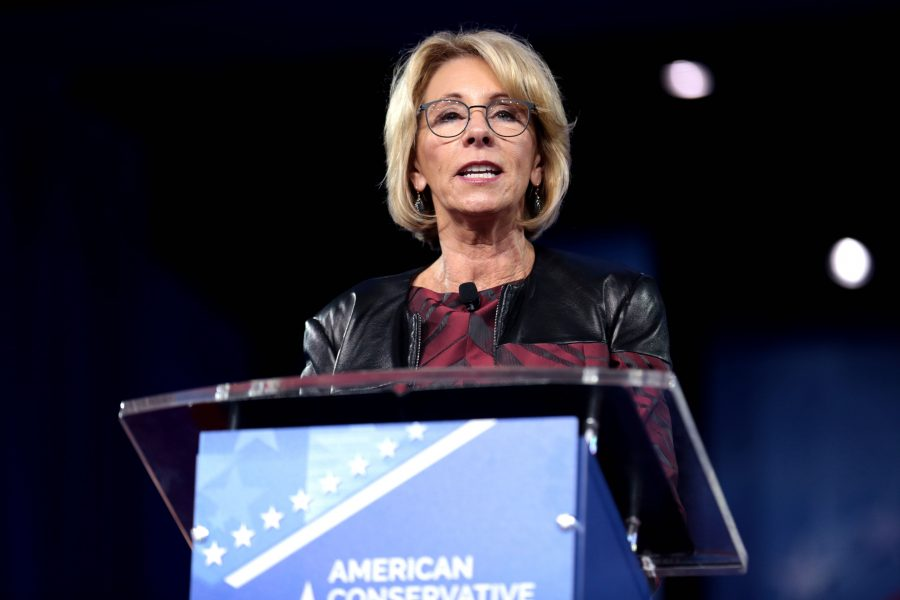 Secretary of Education Betsy DeVos speaks at the 2017 Conservative Political Action Conference (CPAC) in National Harbor, Maryland.