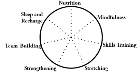 According to Director of Community Wellbeing Charles Colten, an athlete can use these seven principles and rank how well he or she promotes them, with one on the outside of the circle and 10 in the center. By connecting the dots, he or she can figure out where energy is needed to be a well-rounded athlete.