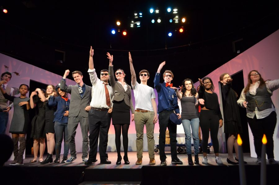 """The cast of """"All in the Timing"""" takes a final bow at its Saturday performance."""