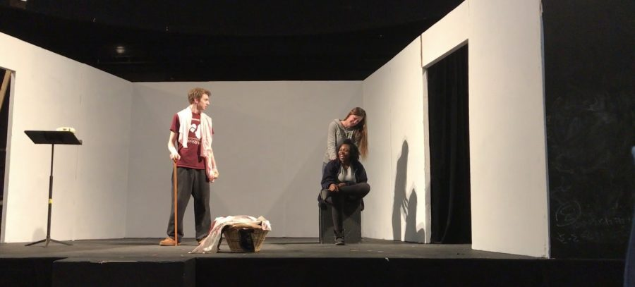"""""""Hacktors"""" Jack Clark, Grace Henrich and Kioni Marshall rehearse for the winter production, """"All in the Timing."""""""