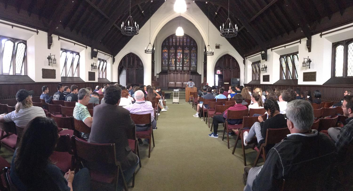 Students and faculty gather in the chapel to hear the junior speeches. During First Friday, the junior class was taught how to create and carry out an effective speech.