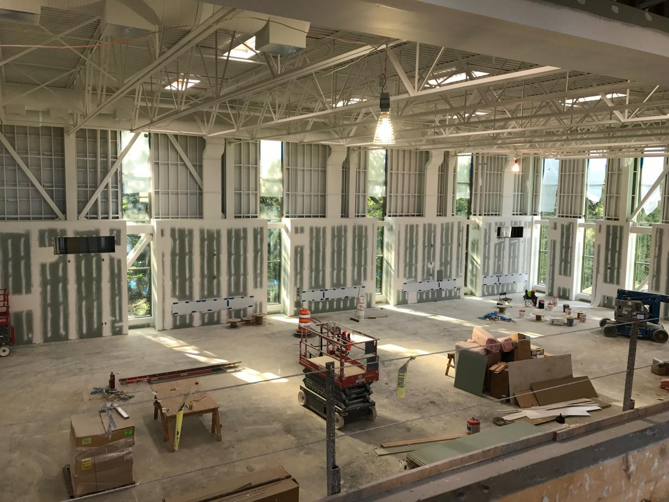 The interior framework of the facility has been finished since the beginning of summer, but there is still quite a ways to go before the building will be completed