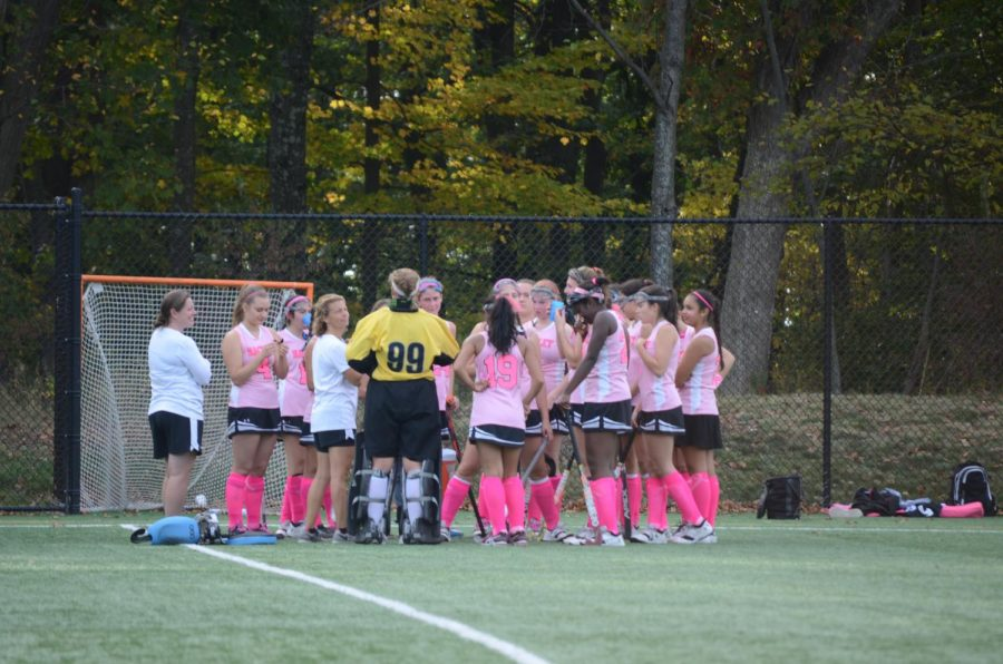 The Varsity Field Hockey team has a strong connection to the Breast Cancer Awareness movement. Throughout the month of October, the team dons their pink uniforms for games in order to show their support for the movement as well as spread awareness.