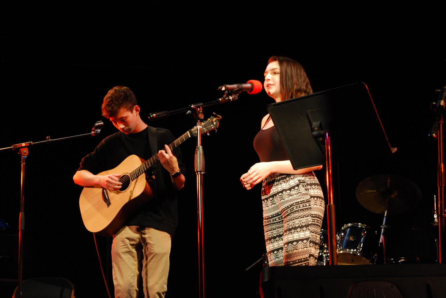 "Richie Nuzum '19 and Bea McColl '18 perform Sam Smith's ""I'm Not the Only One"" to an enthused audience. Richie is a member of this year's house band while Bea worked behind the scenes throughout most of the night as the stage manager; a position also affectionately known as ""Coffeehouse Goddess""."