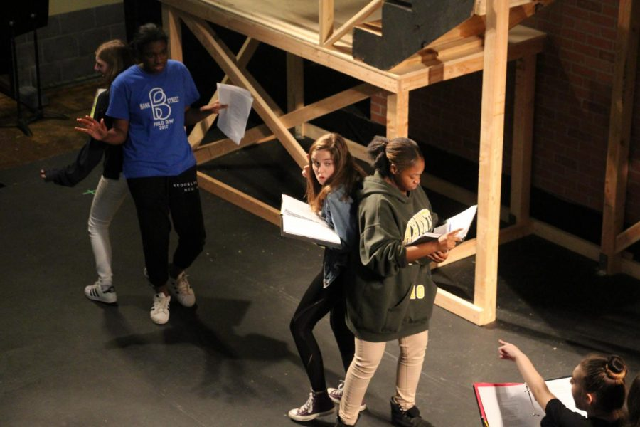 Actors practice their lines in preparation for the Fall Play premiering Friday, November 3rd at 7pm in the PAC. The play also has show dates on November 4th, 10th, and 11th.