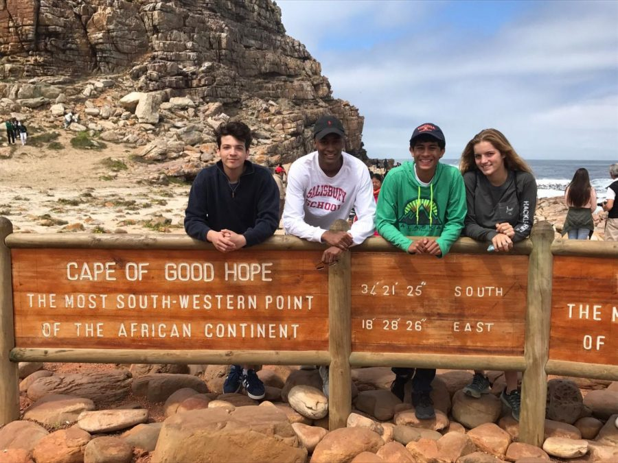 Five student delegates traveled to South Africa for the 2017 Round Square Conference. The four-day conference focused on enhancing leadership skills and embracing diversity within the global community. From left to right, junior Grant Albright, senior Julian Epps, junior Varun Krishna, and senior Fran Docters enjoy the Cape of Good Hope, the point where the Atlantic and Indian Oceans meet.