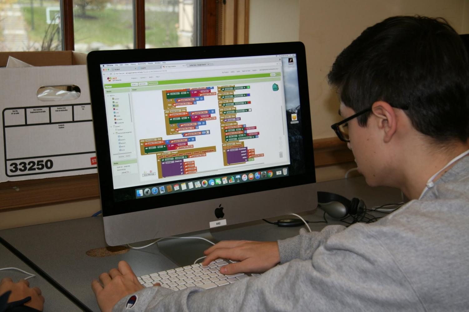 Partovi's Hour of Code initiative has allowed the computer science program at Hackley to grow. Sophomore Stefen Burns takes part in the movement during his computer science class in early December.