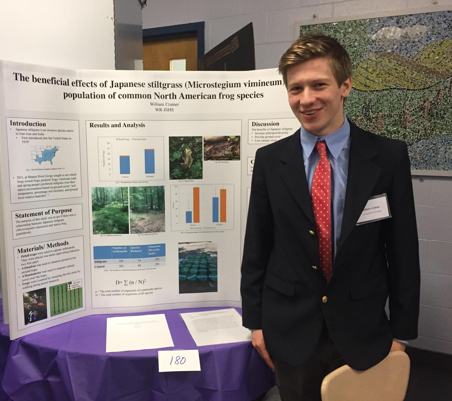 Will Crainer's work at the Mianus River Gorge gives him many opportunities to create projects regarding his studies of frogs. He presents his poster on the effects of Japanese stilt grass on the population of North American frogs at a science competition.