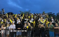 Students fill the bleachers to cheer on the Football team at the Fall Sting. The Football team came away with a 35-19 win over Poly Prep Country Day. The Athletic Department is working toward being able to host all JV and Varsity games on campus for Sting so that everyone can come support Hackley athletic teams.