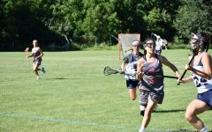 Tati Monteleone hustles back on defense after an offensive turnover. Her commanding stick skills make her a huge asset on attack. Despite her injuries throughout high school, Tati will continue pursuing her love of lacrosse in college.