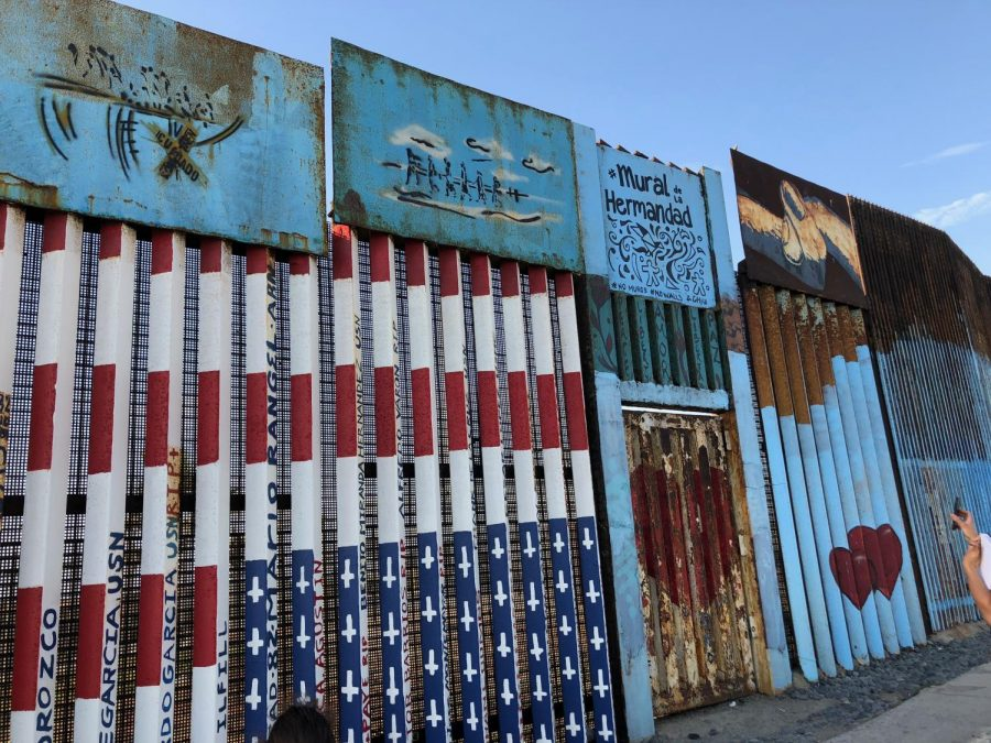 The current border fence along the beach in Tijuana, Mexico ventures out into the Pacific ocean. Some portions of the wall around the beach contain murals and messages, many of which are political. The fence along the beach also tends to be a common tourist attraction for those wanting to examine the infrastructure along the United States-Mexico border.