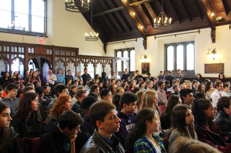Chapel talks like this one provide rich out-of-classroom experiences. Here a rapt audience listened to Hope Weisman '17 deliver a compelling talk. Chapel talks have touched on such subjects as Euro-centric beauty standards and managing multiple deadlines in the past.
