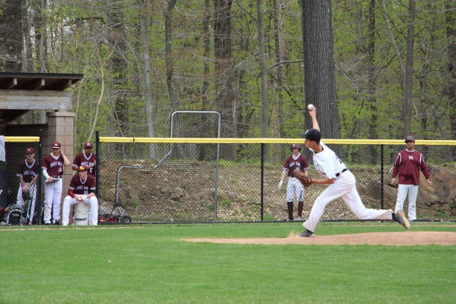 Sophomore pitcher Alex Kalapoutis delivers a pitch during the baseball team's Sting game. The team beat Horace Mann 5-2.