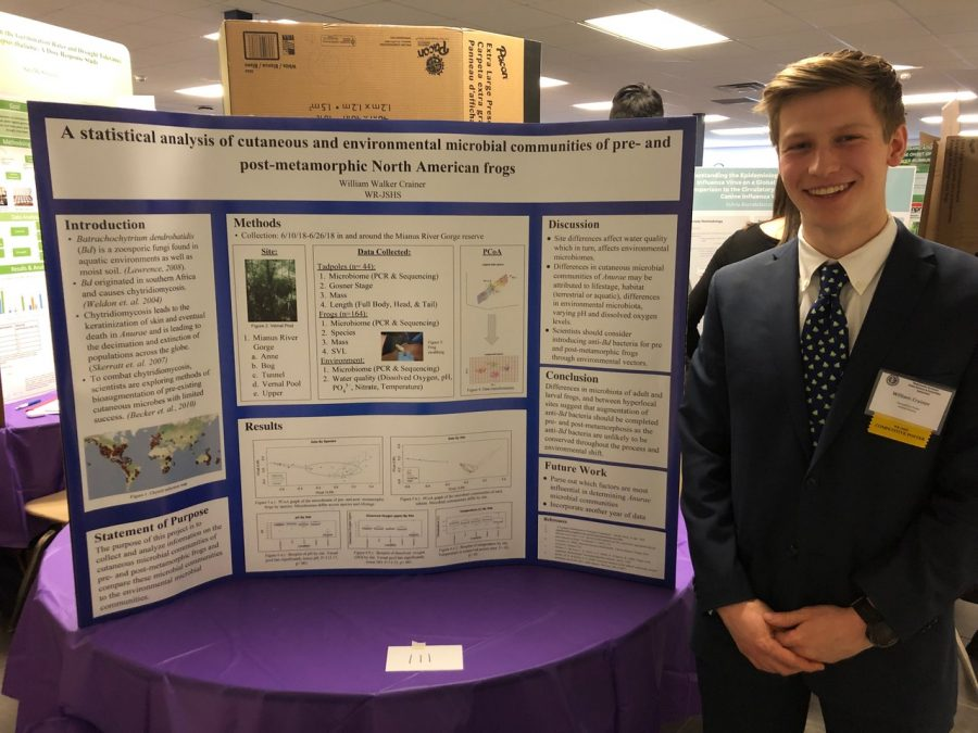 Senior William Crainer presents his findings about microbial communities of frogs as a culmination of the Independent Research Program. In addition to reading about their topics, participants in the program also preform experiments. Crainer collected data at Mianus River Gorge in Bedford, NY, where he plans to intern this spring.