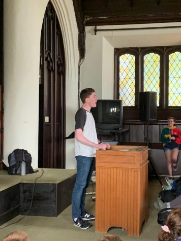 In a reflective piece about the role that music plays in his identity, senior Oren Tirschwell delivers a rousing speech to ninth and tenth graders. He advises them to be mindful of the way that offhand comments affect those around them, and to inquire about their peers