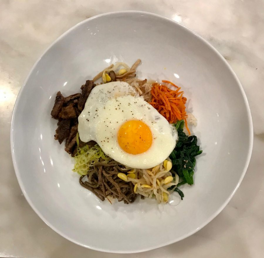 This+Bibimbap+is+made+from+mushrooms%2C+carrots%2C+spinach%2C+bean+sprouts%2C+rice%2C+and+a+fired+egg+on+top.+The+first+bibimbap+recipe+came+from+the+19th+century+and+traditional+bowls+may+also+include+kimchi+and+different+types+of+meat.+