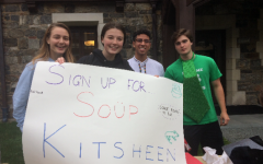 Club leaders Emma Lauerwald, Emma Brennan, Gabe Baez, and Sean Ford (from left) attract underclassmen to sign up for the soup kitchen club. The group has a devoted band of members who attend their community service events.