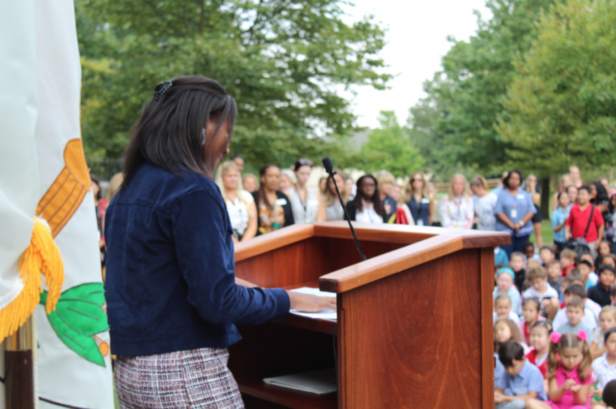 Student+Council+President%2C+Taylor+Robin%2C+addressing+the+K-12+Hackley+Community+with+her+Commencement+Day+Speech+about+what+her+new+position+means+to+her.++