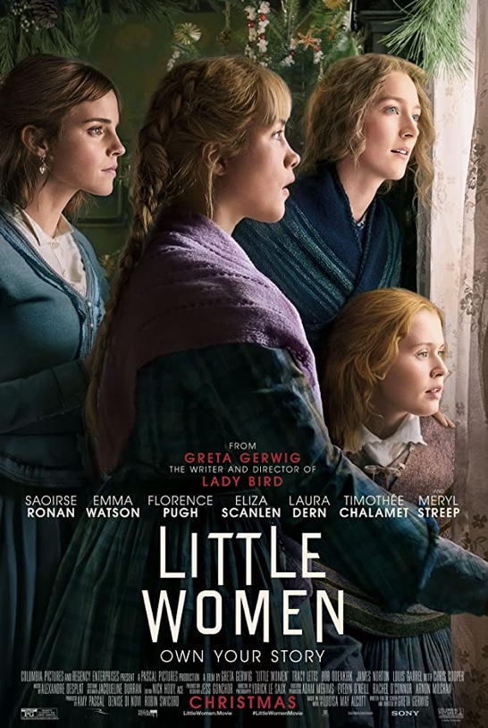 Pictured are the four main characters of Little Women: Meg (far left), Amy (center), Jo (right center) and Beth (far left). This is one of the official posters for the movie which portrays these four sisters standing together as they peer out the window. Despite their four distinct personalities as demonstrated slightly by their facial expressions, above is a moment of unity showing the closeness among them.
