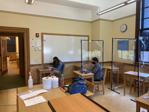 Whether it is during a free or during class, students social distance with dividers and spaced desks. Many of the classrooms around school have been completely transformed and cannot be recognized with new desk formations and many types of clear dividers. It is definitely an adjustment for students and teachers alike but students are staying safe!