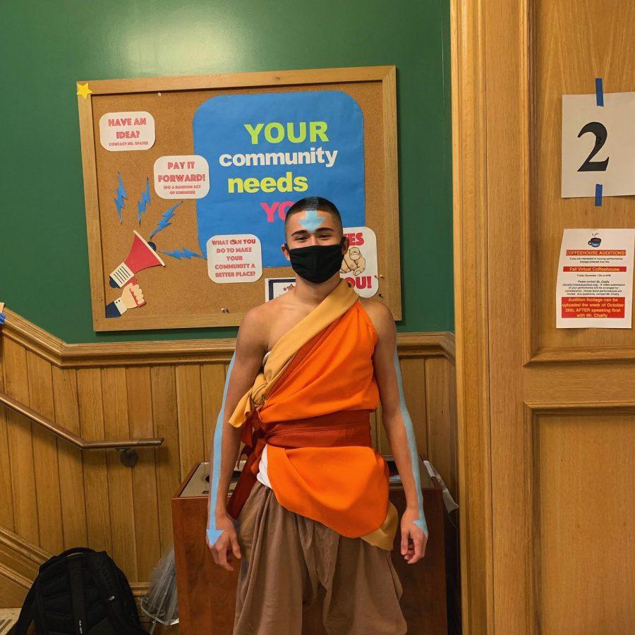 Junior Daniel Nuzum dressed up as Avatar Aang from the Avatar.