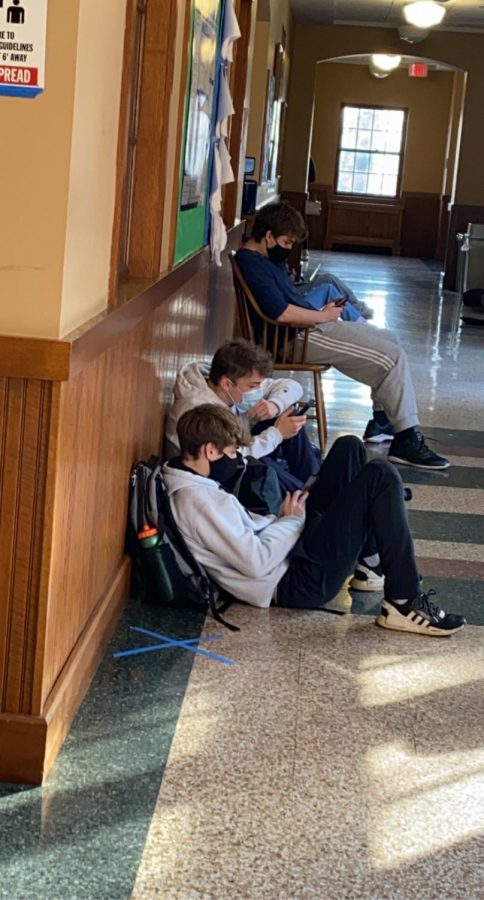Social Media is doing a good job keeping these Junior Hackley students engaged on their screens.