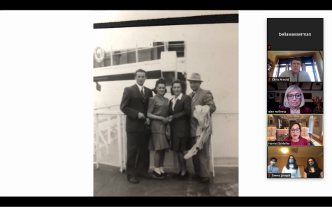 Ms. Schleifer shares a photo of her family arriving in America after escaping from the Holocaust. Many Jews immigrated to other countries after the Holocaust through organizations such as HIAS.