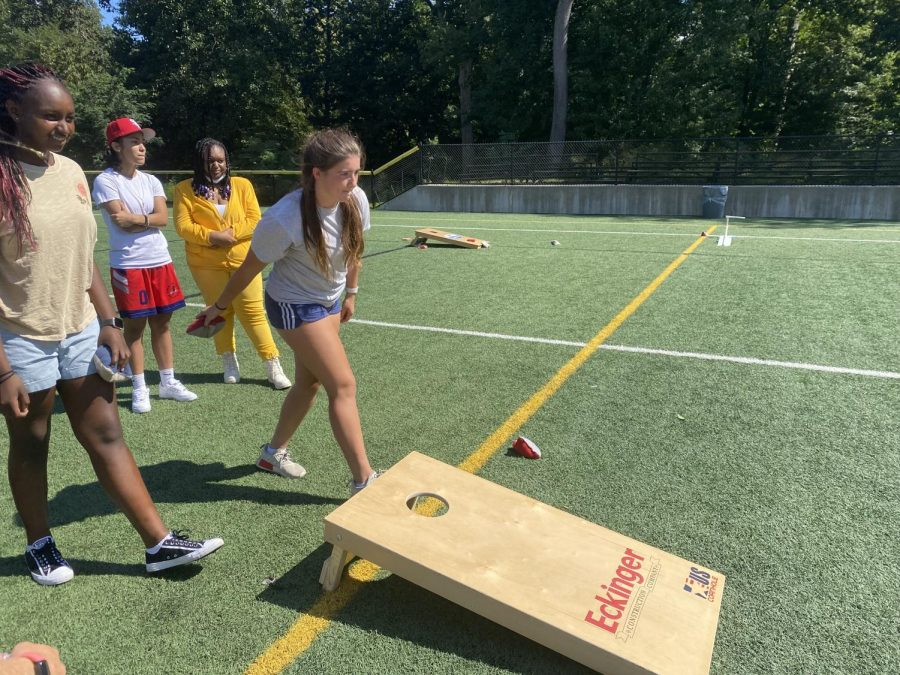 Sophomores took advantage of the turf fields and competed in a cornhole tournament. The grade was divided into teams of two for this event.